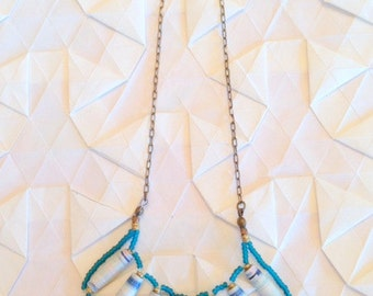 Blue One of a Kind Paper Bead Necklace - OOAK Daydream Necklace - Blue and White Handmade Bead and Brass Chain Necklace - GIFTS UNDER 60 -