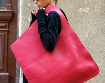 NEW Genuine Leather FUCHSIA Bag / High Quality  Tote Asymmetrical  Large Bag by AAKASHA A14176