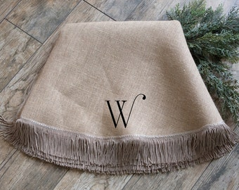 Christmas Tree Skirt | Large Burlap Tree Skirt | Fringe | Optional Name or Initial | Neutral | Approx. 65"