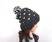 ON SALE Knit Chunky Fair Isle Pom Pom Slouchy Hat Beanie Toque // The Norwich // in Charcoal and Fisherman