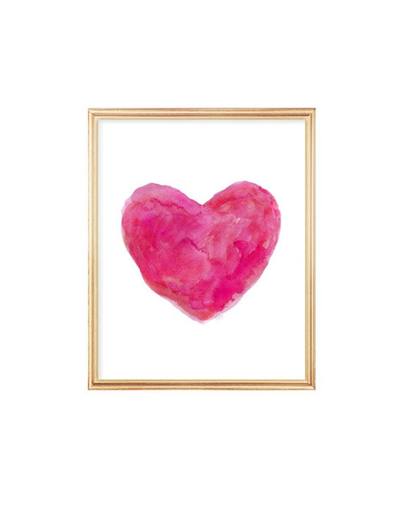 Hot Pink Girls Wall Decor,  8x10 Watercolor Painterly Heart Print
