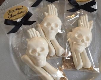 8 Chocolate Bag of Bones Party Favors Halloween Candy Treats Skull Skeleton Hand