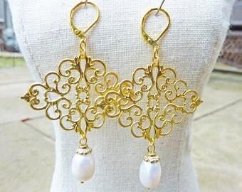 Gold Filigree Freshwater Ivory Pearl Earrings