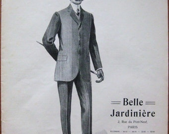 Belle Jardiniere, 1907, vintage,  ad, original, suit, fashion, men, clothes, French, advertisement, free shipping, paper, ephemera
