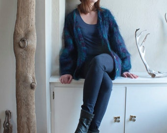 MOHAIR Shag Vintage OVERSIZED SWEATER Furry long hair Purple & Teal Blue - Green Iridescent Buttons Cardigan Hand Knitted Sweater Jacket M/L