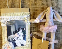 Altered Paper Bag  and Muslin Bunny  and Tag gift set
