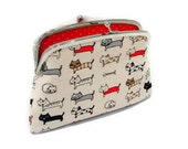 Cat kiss lock wallet, cute coin purse with 2 compartments in red polka dot fabric, money pouch, card holder