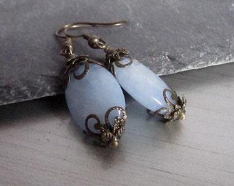 Jade Gemstone Earrings, Sky Blue Jade Jewellery, Blue Drop Earrings, Semi Precious Stone, Antique Bronze Jewellery,
