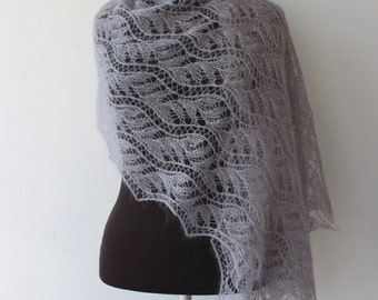 Gray kid mohair lace shawl, hand knitted Estonian lace shawl