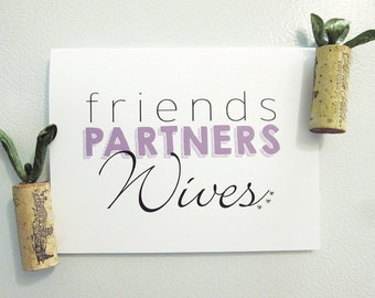Friends, Partners, Wives - Marriage Equality Wedding Congrats Card with silver studs
