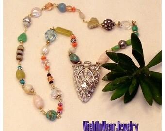 Vintage Repurposed Art Deco Rhinestone Pendant Necklace Beautiful Assemblage Mix of Colorful Beads Stones Boho Chic Retro  WishAnWearJewelry