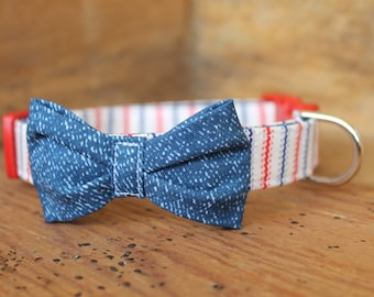Bow Tie Dog Collar - Patriotic Fourth of July Red/Blue/Cream Stripe with Denim Print Cotton Bow Tie