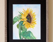 "Nice And Bright Sunflower In Original Art Watercolor -  Framed Size 11""X14"" , Floral Art, Contemporary Art, Traditional Decor, Home Decor"
