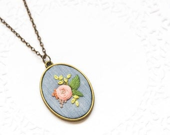 Hand Embroidered Peach Flower Necklace | Hand Embroidered Pendants | Hand Embroidered Necklace Jewelry | Modern Embroidery Gift Art