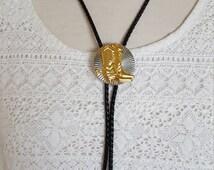Cowboy Bolo Neck Tie/ festival jewelry accessories/ gold n black boots necklace/ Spurs/Nashville, Bonaroo/Western Wear/ AZ, CA Style/Vintage