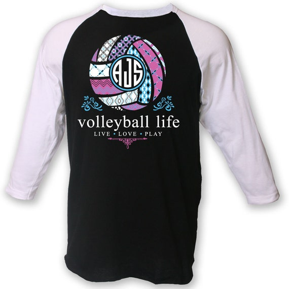 Official tm volleyball life custom monogram raglan volleyball for Volleyball custom t shirts
