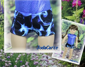 Blue Waves Shorts for American Girl Doll