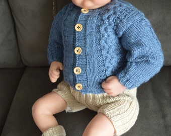 Baby Knit Sweater and Short Pants Set to fit 0-3 month Baby or 22 inch Reborn Baby Doll in Blue and Latte Yarn Ready to Ship