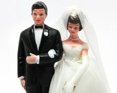 Vintage Plastic Bride and Groom*Wedding Cake Topper*Wedding Couple
