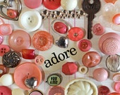 Valentine's Day Peachy Pink Button Inspiration Kit*Pink Inspiration*Buttons and Embellishments