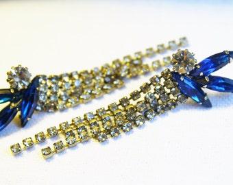 Vintage Sapphire Chandelier Earrings Blue Rhinestone Post Earrings Dangle Sparkly  Drop Chandelier D&E Juliana Style
