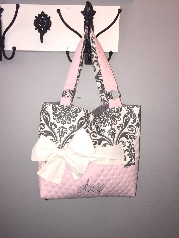 Personalized Diaper Bag Set In Pink Amp Grey Damask By Ceejaze