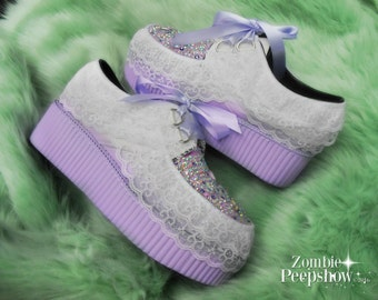 "Lace and Crystal ""Lolita"" Lavender Platform Creepers"