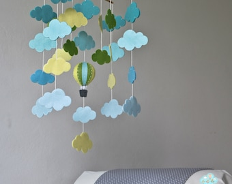 READY TO SHIP blue, green & yellow cloud bank baby mobile - clouds mobile - hot air balloons baby mobile- up in the sky - up and up