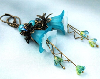 Lucite Flower, Dangle Earrings, Victorian Style, Agate, Semi Precious Stones, Czech Glass Beads, Teal, Yellow Green, Antiqued Brass, Gift