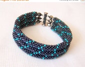 15% SALE Beadwork - 3 Strand Bead Crochet Rope Bracelet in hematite and turquoise - beaded bracelet - beaded jewelry