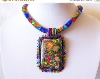 CHRISTMAS SALE Beadwork Bead Embroidery Pendant Necklace with Rainbow Sea Jasper and Pyrite - SUMMER Day - Summer collection - Colorful Geom