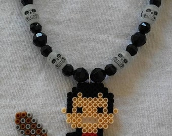 Mini Perler Bead Walkign Dead Glow in the Dark Skull Bead Necklace or Rear View Mirror Hanging Accessory