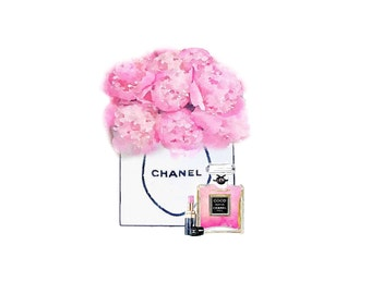 Art Print from Watercolor Painting, Chanel Shopping Bag of Pink Peonies Flowers Perfume Lipstick Fashion Illustration, Poster Wall Decor