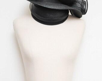 Black Asymmetrical Hat // Deborah Designer Hat // 70s 80s NWT Avant Garde Floral Rose Design Kentucky Derby Church Hat
