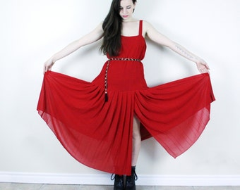 Pleated Flapper Dress . 1980s does 1920s Red Chiffon Dress Pleated Dress Red Dress Drop Waist Dress Maxi Dress Sheer Dress Flapper Dress