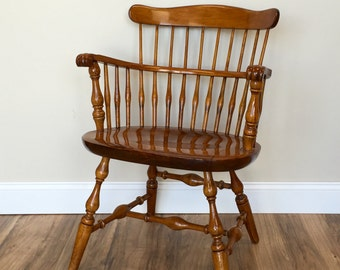 Wooden Arm Chair, Antique Chair, Occasional Chair, Windsor Arm Chair, Spindle Back Chair, Nichols and Stone