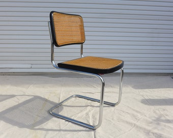 Vintage Cane and Chrome Cantilever Dining Chair Marcel Breuer Cesca Style Mid Century Modern Black Finish Side Chair