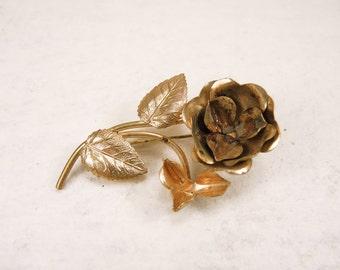 Vintage flower brass brooch