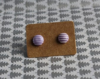 Purple and White Striped Circle Stud Earrings 8mm