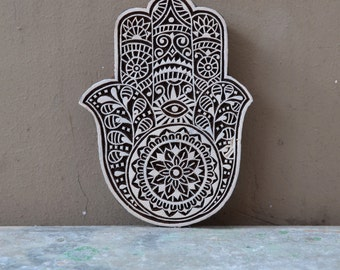 Tribal hamsa stamp wood block Hand of Fatima decor textile printing henna Indian carved print making, protection spiritual