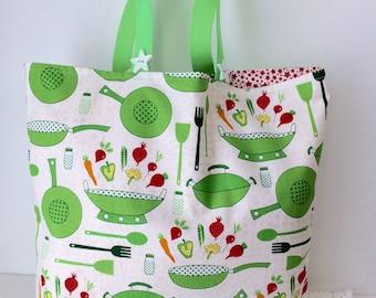 Stir Fry Market Diva Bag - Green Grocery Bag - Farmer's Market Tote - Cotton Shopping Bag
