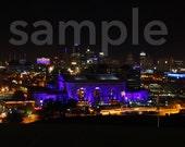 8x10 Blue Downtown Kanas City Night Print
