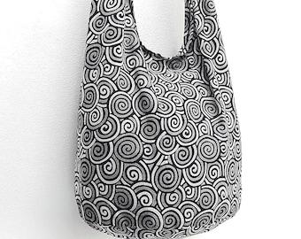 Women bag Handbags Cotton bag Hippie bag Hobo bag Boho bag Shoulder bag Sling bag Messenger bag Tote bag Crossbody bag Purse Swirl Black