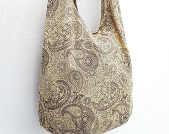 Women bag Handbags Cotton bag Hippie bag Hobo bag Boho bag Shoulder bag Sling bag Messenger Tote bag Crossbody bag Purse Paisley Beige