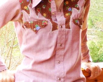 Vintage Western Shirt - Size 14.5 32 - 1970s Western Wear Cowboy Shirt - Rockabilly