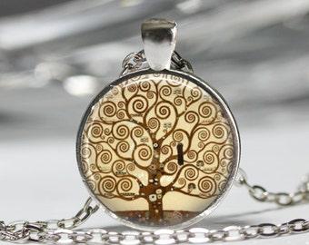 Tree of Life Pendant, Vintage Painting Necklace, Nature Tree Jewelry [B21]