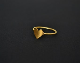 Gold Pixel Heart Ring, 14K Solid Gold or 24K Gold Plated Sterling Silver 8 Bit Digital Pixel Heart Ring, Geek Zelda Video Game Jewelry Ring