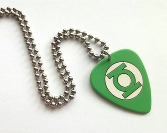Green Lantern Guitar Pick Necklace with Stainless Steel Ball Chain - super hero - comic book - DC comics