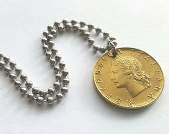 RESERVED 1975 Italian Coin Pendant