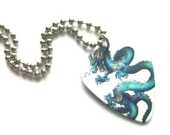 Blue Dragon Guitar Pick Necklace with Stainless Steel Ball Chain